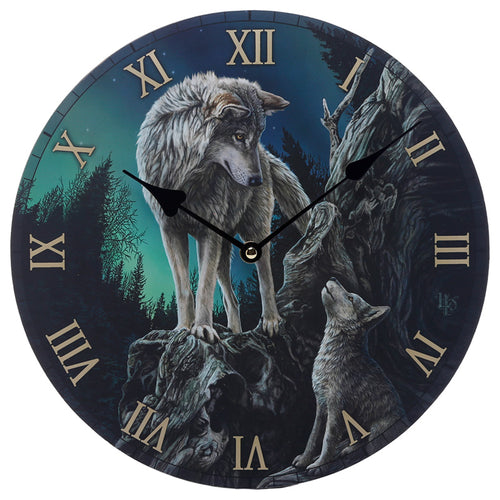 Wooden Fantasy Howling Wolf Picture Print Wall Clock
