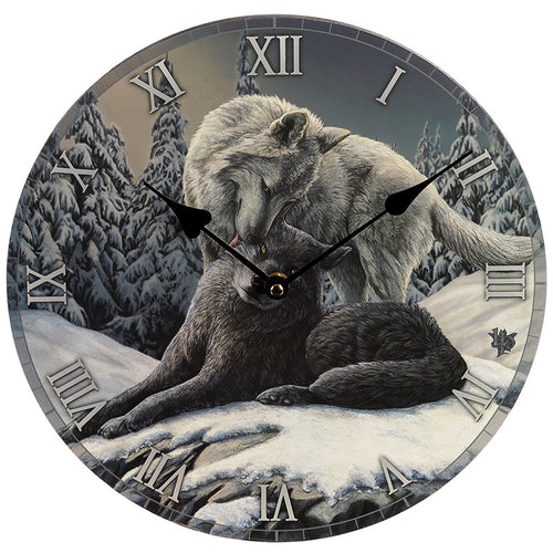 Wooden Fantasy Wolf & Pup Picture Print Wall Clock
