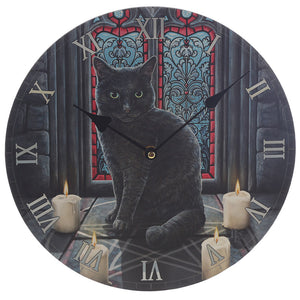 Wooden Fantasy Pentagram Black Cat Picture Print Wall Clock