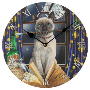Wooden Fantasy Cat & Moon Picture Print Wall Clock