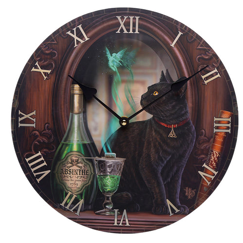 Wooden Fantasy Black Cat Picture Print Wall Clock
