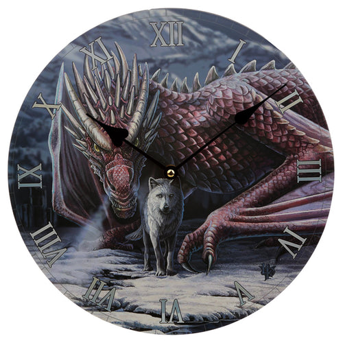 Wooden Fantasy Dragon & Wolf Picture Print Wall Clock