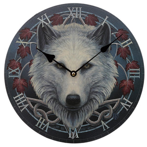 Wooden Fantasy Alpha Male Wolf Picture Print Wall Clock