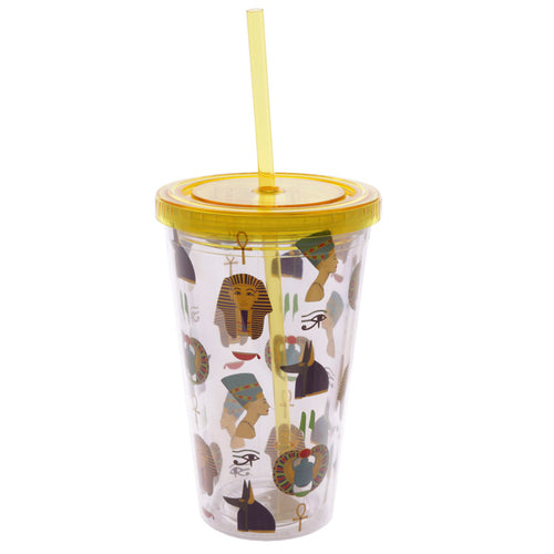 Egyptian Gods Print Water Drinking Glitter Bottle With Straw 500ml