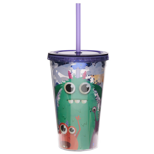 Multi Colour Monster Print Water Drinking Glitter Bottle With Straw 500ml