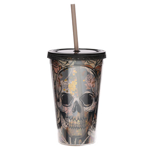 Skull & Rose Print Water Drinking Glitter Bottle With Straw 500ml