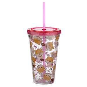 Pink Kawaii Dog Print Water Drinking Glitter Bottle With Straw 500ml