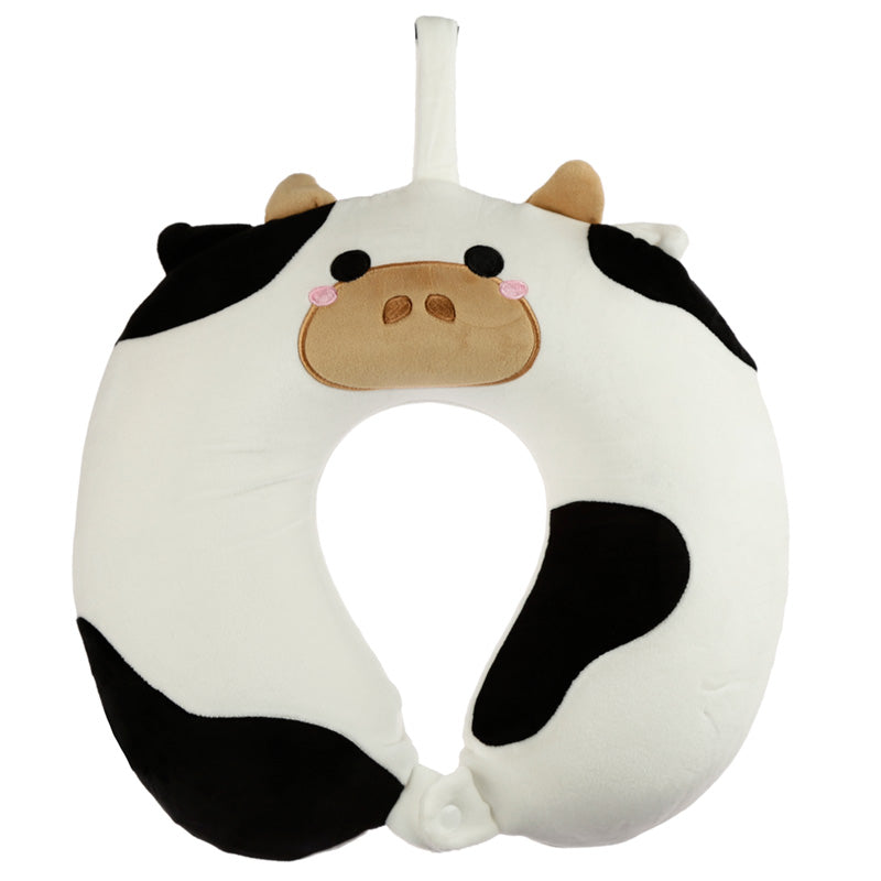 Black & White Cow Print Memory Foam Travel Pillow