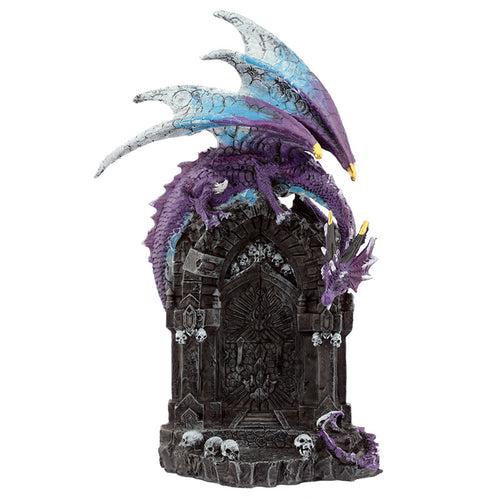 Purple Fantasy Dragon Guarding The Gateway Figurine