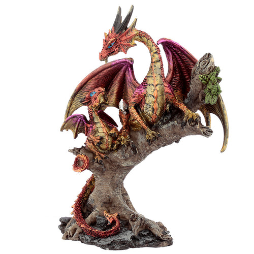 Red Fantasy Fire Dragon With Young Figurine