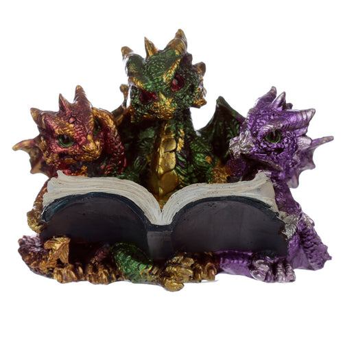 Purple & Green Fantasy Cute Dragon Reading Book Figurine