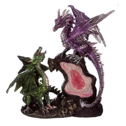 Purple & Green Fantasy Dragon Geode Crystal Figurine