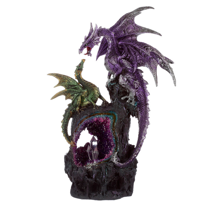 Purple & Green Fantasy Dragon Amethyst Geode Crystal Figurine