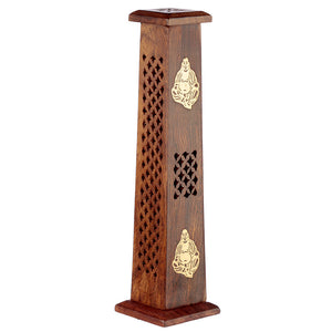 Wooden Tower Incense Holder Ash Catcher With Buddha Metal Inlay