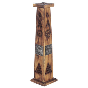 Wooden Tower Incense Holder Ash Catcher With Elephant Metal Inlay