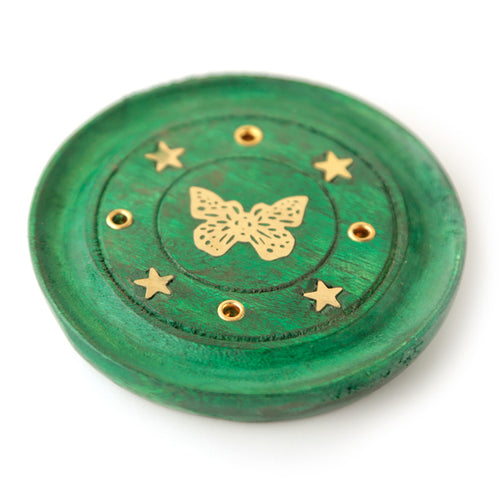 Green Wooden Incense Holder Ash Catcher With Butterfly Metal Inlay