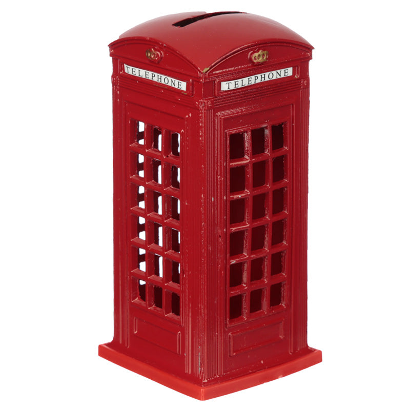 Red Classic London Metal Phonebox Money Bank