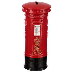 Red Classic London Metal Postbox Money Bank