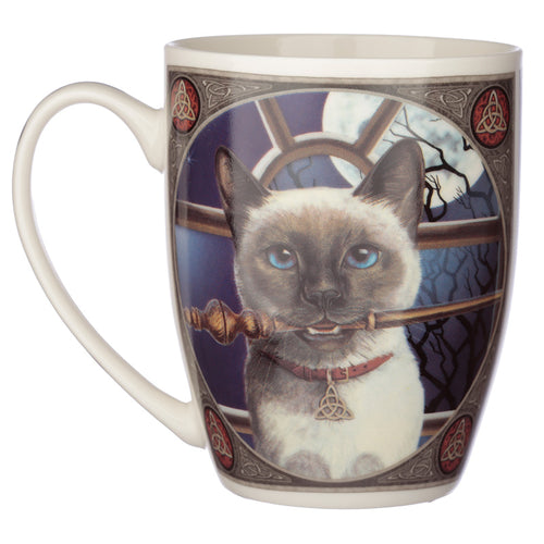 Fantasy Cat & Wand Print Porcelain Mug