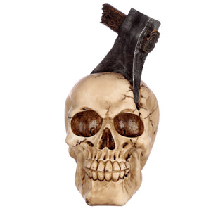 Gothic Skull Bust With Embedded Axe Figurine