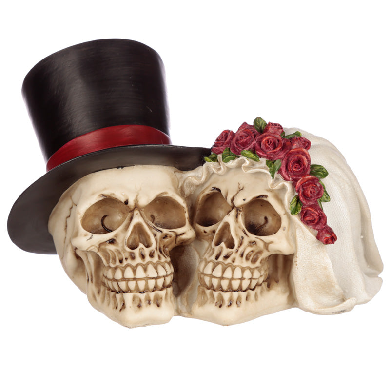 Gothic Skull Bride & Groom With Red Roses Figurine