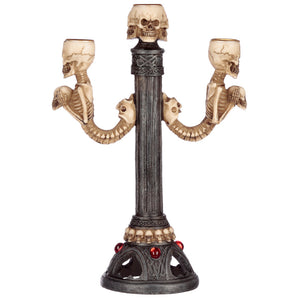 Large Gothic Skull Head Candle Holder Candelabra