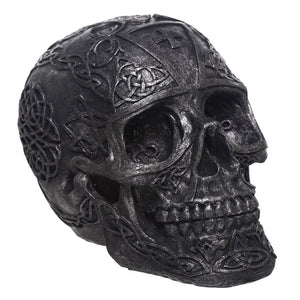 Gothic Black Celtic Pattern Skull Bust Figurine