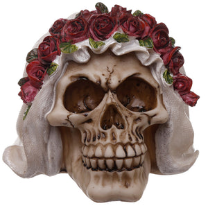 Gothic Skull Bride With Red Roses Figurine