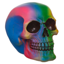 Gothic Multi Colour Rainbow Pattern Skull Bust Figurine