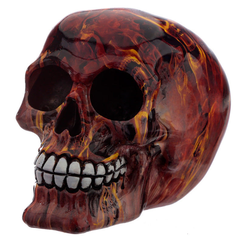Gothic Red Marble Flame Skull Bust Figurine