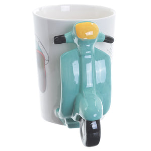 Blue & White 3D Scooter Shaped Mug
