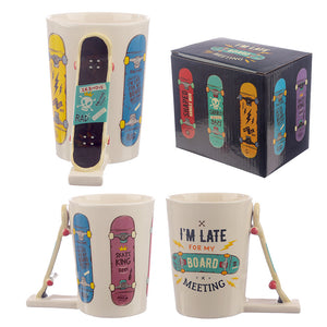 Multi Colour 3D Skateboard Shaped Mug