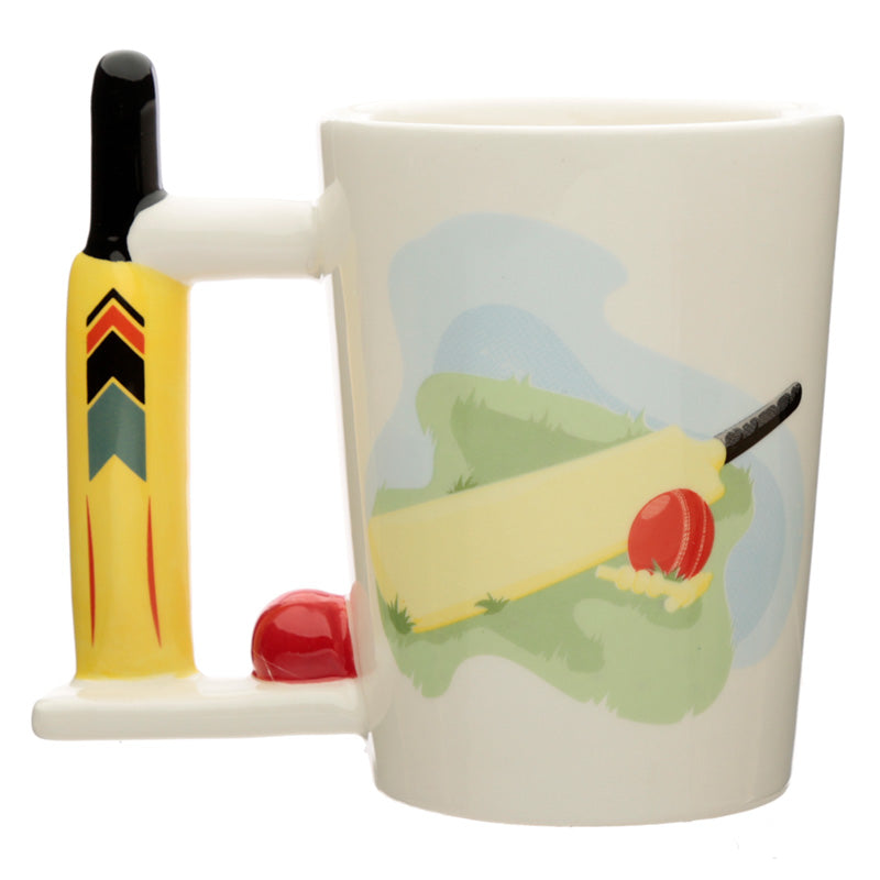 White 3D Cricket Bat & Ball Shaped Mug