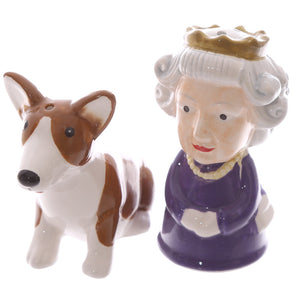 Queen Elizabeth & Corgi Dog Figurine Salt & Pepper Cruet Set