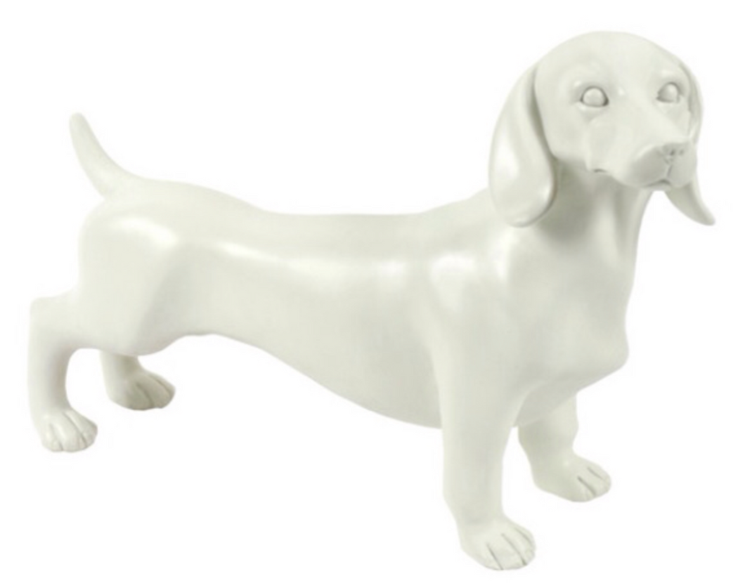 Large White Dachshund Sausage Dog Ornament Figurine
