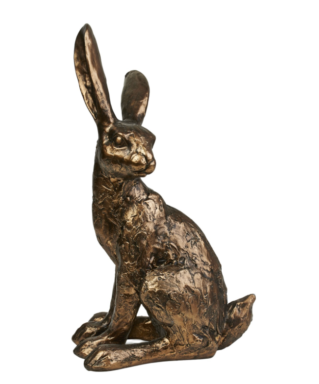 Bronze Style Rabbit Hare Ornament Figurine Sitting