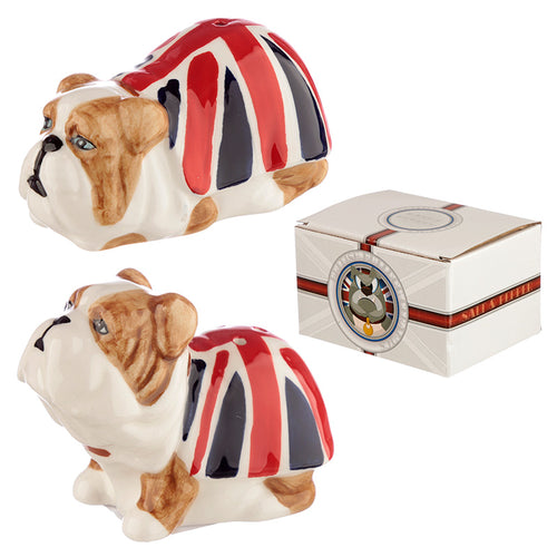 British Bulldog Union Jack Dog Breed Figurine Salt & Pepper Cruet Set