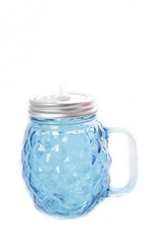 Blue Pineapple Shape Glass Mason Drinking Jar With Straw