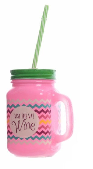 Pink I Wish This Was Wine Glass Mason Drinking Jar With Straw