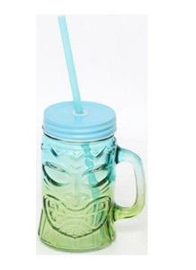 Blue & Green Tiki Totem Pole Glass Mason Drinking Jar With Straw