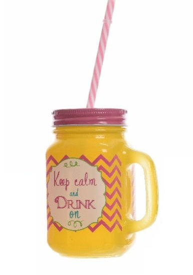 Yellow Keep Calm And Drink Glass Mason Drinking Jar With Straw