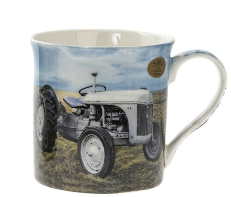 White Farmyard Tractor Print Countryside Art Fine China Mug