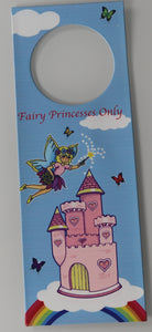 Fairy Princesses Only Fairy Castle Door Hanger Hanging Metal Plaque Sign
