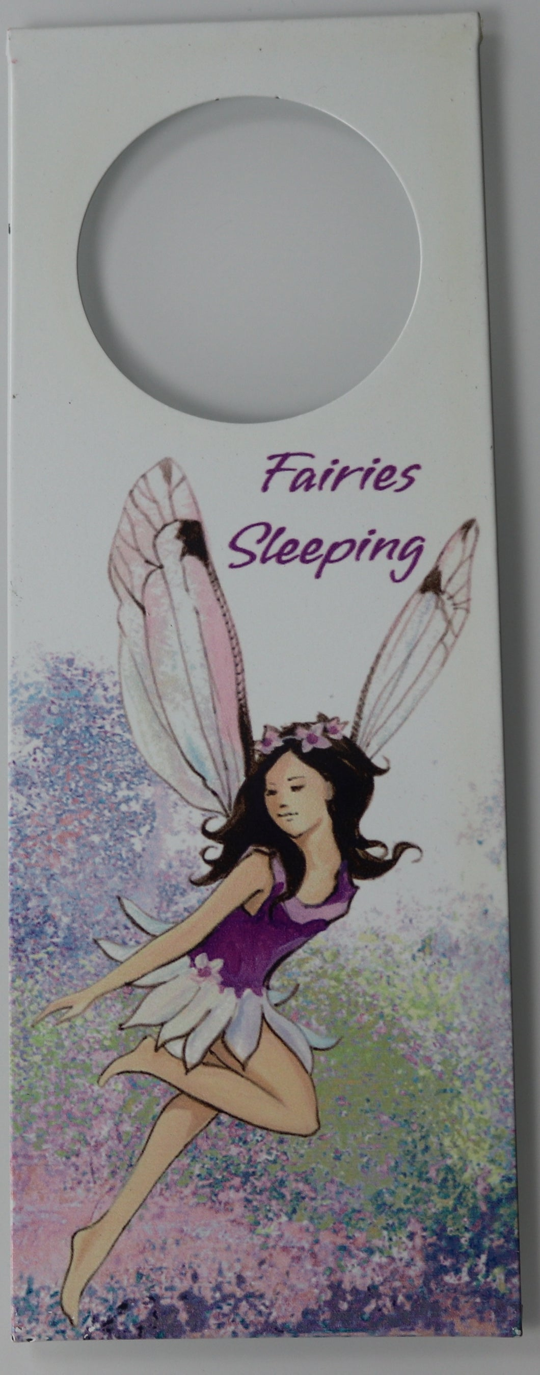 Purple Fairies Sleeping Door Hanger Hanging Metal Plaque Sign