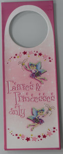 Pink Fairies & Princesses Only Door Hanger Hanging Metal Plaque Sign