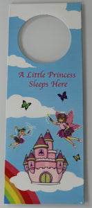 A Little Princess Sleeps Here Fairy Castle Door Hanger Hanging Metal Plaque Sign