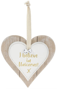 Shabby Chic I Believe In Unicorns Hanging Wooden Heart Plaque Sign
