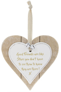 Shabby Chic Good Friends Are Like Stars Hanging Wooden Heart Plaque Sign