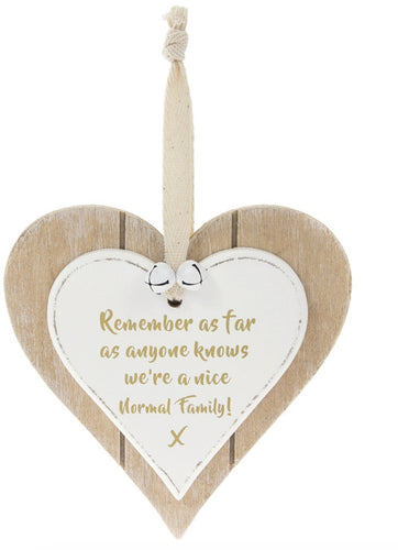 Shabby Chic Nice Normal Family Hanging Wooden Heart Plaque Sign