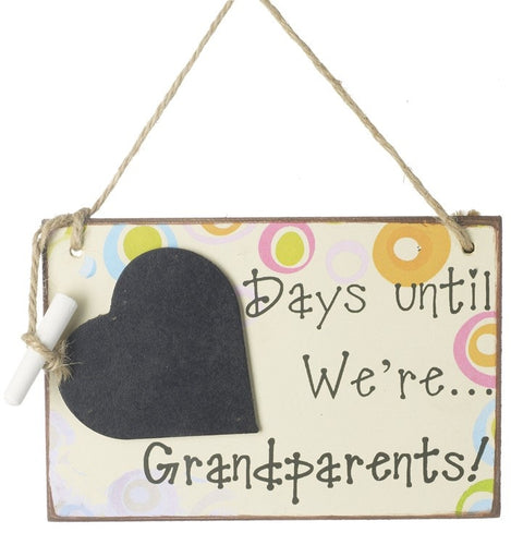 Countdown Days Until We're Grandparents Hanging Wooden Plaque Sign